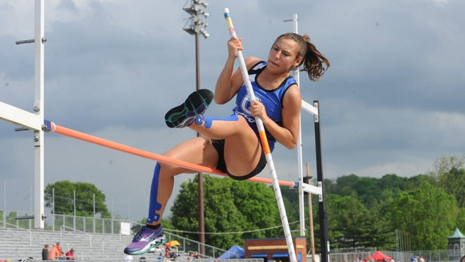 Chillicothe's Xena Stearos participates in the pole vault event at Tuesday's South Central Ohio League Track and Field Championships. The meet was held at Chillicothe High School's Herrnstein Field.