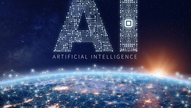 """Big letters AI made up of circuits over smaller """"ARTIFICIAL INTELLIGENCE"""" with a view of Earth with lighted points that are connected"""