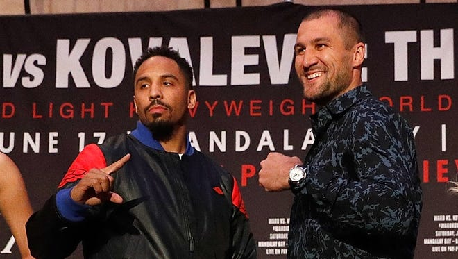 Andre Ward, left, puts his title on the line Saturday in a light heavyweight rematch against Sergey Kovalev.