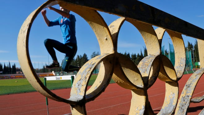 An athlete attends a training session at the ëYunostë sports ground at the Black Sea resort of  Sochi, Russia, on Nov. 12, 2015.