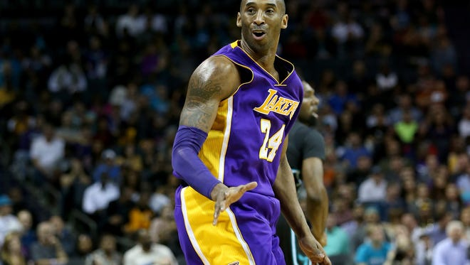 Kobe Bryant #24 of the Los Angeles Lakers during their game at Time Warner Cable Arena on December 28, 2015 in Charlotte, North Carolina.