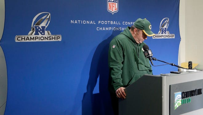 Packers coach Mike McCarthy answers questions following Sunday's loss.
