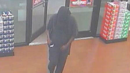 Surveillance image of a suspect in a Tuesday morning robbery at the RaceTrac store at 2335 Cleveland Avenue.