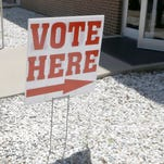 Kevin McCoy of Ward, ark., walks from an early voting polling place in Lonoke, Ark., Monday, May 5, 2014.  Early voting began Monday for Arkansas' May 20 primary and nonpartisan judicial election. (AP Photo/Danny Johnston) ORG XMIT: ARDJ104