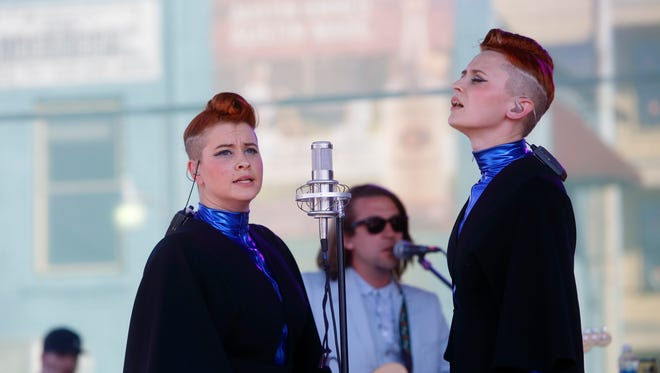 Jess Wolfe (left) and Holly Laessig of Lucius performs at the Spotify House at South by Southwest Music Festival on March 14 in Austin, Texas.