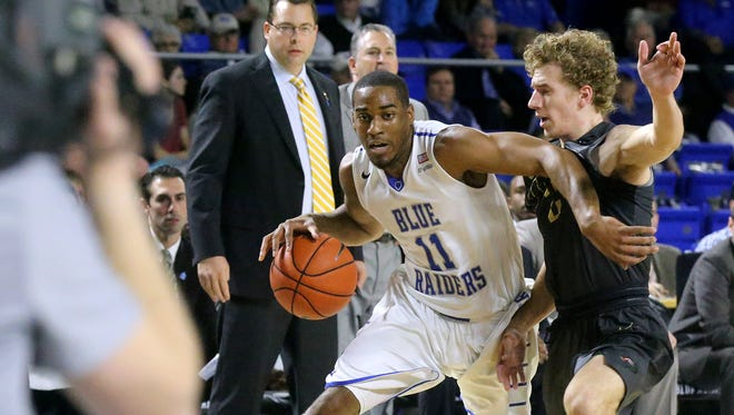MTSU's Edward Simpson (11) is done for the rest of the Conference USA tournament after suffering a injury in Birmingham.