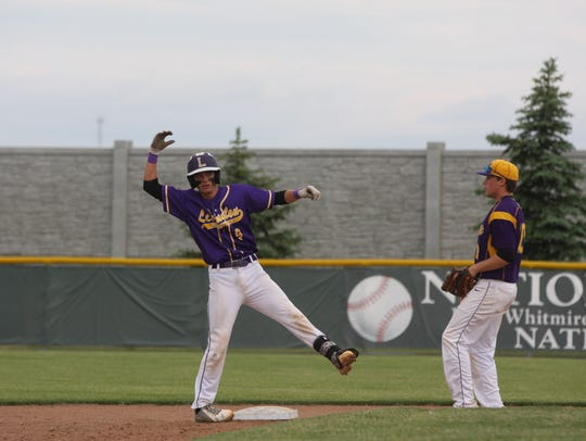 Jacob Odson hit a double, and tries to rally the Minutemen