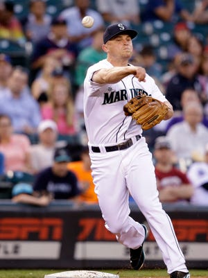Kyle Seager, a Seattle Mariners third baseman, throws against the Minnesota Twins on Wednesday in Seattle.