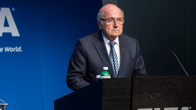 Sepp Blatter speaks during a press conference at the FIFA headquarters where he announced he is resigning.