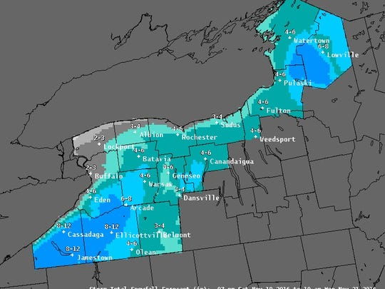 Snow forecast map for Saturday through Tuesday.