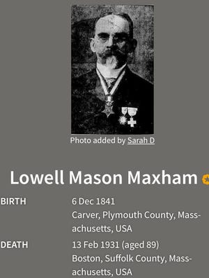 Lowell M. Maxham, born in Carver, who received the Medal of Honor for heroism, severely wounded during the Civil War, will share his name on the to-be-named Medal of Honor bridge between Carver and Middleborough.