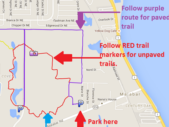 This image shows parking, trail variations and muddy/wet sections as of 9/7/15