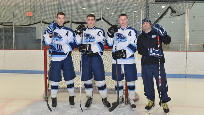 Zach Berzolla (second from right) was called up to the USHL by the Muskegon Lumberjacks.