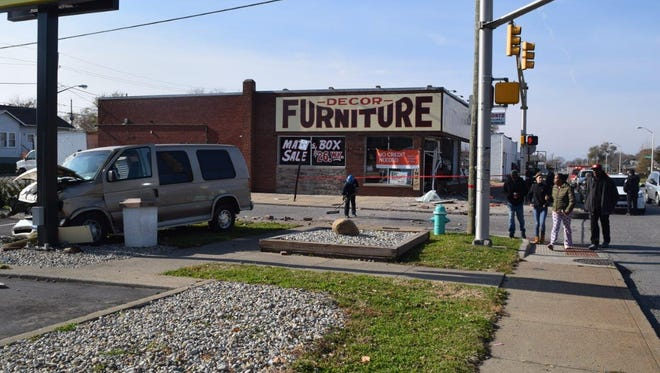 A 35-year-old man drove his vehicle into the corner of Decor Furniture, before hitting a McDonald's sign.
