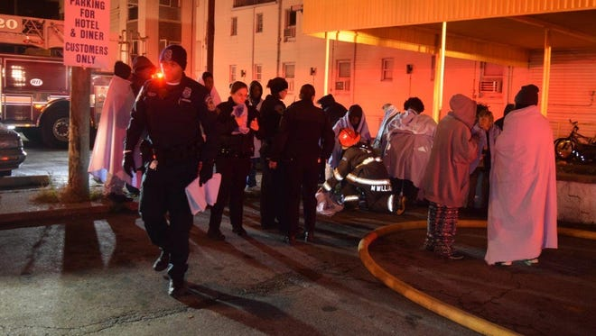 Seven people were injured and about 45 residents were displaced after a fire at the Indy Hotel on the east side about 3:45 a.m. on Wednesday, Dec. 7, 2016.