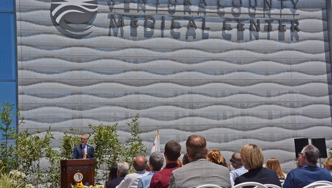 Ventura County Executive Officer Mike Powers addresses the audience at Ventura County Medical Center's north tower ribbon-cutting ceremony Friday.