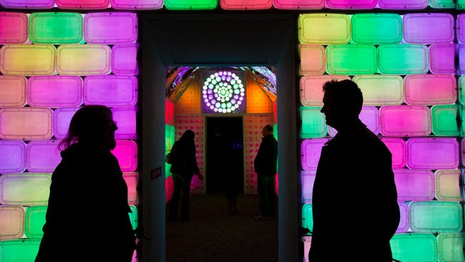 A view of the 2015 Lightscapes installation at Van Cortlandt Manor in Croton-on-Hudson, Westchester County.