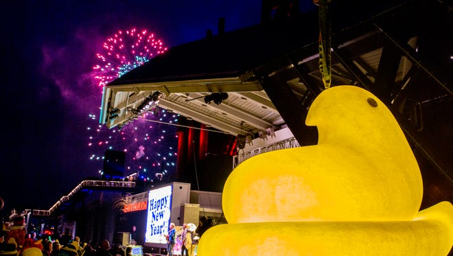 The PEEPS¨ Chick  rings in the new year at the 7th annual PEEPSFEST¨ at SteelStacks Thursday December 31, 2015 in Bethlehem, Pa.