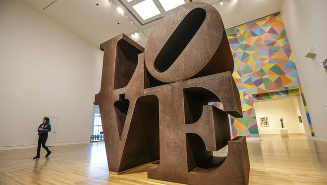 The original LOVE sculpture, 1970, by Robert Indiana has returned to public display inside the Indianapolis Museum of Art, March 8, 2017. The sculpture, created from COR-TEN steel, was undergoing conservation treatment after years of display outside. Now the sculpture has returned to its original home inside the Pulliam Family Great Hall.