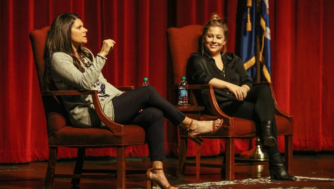 Two gold medalists, soccer player Mia Hamm and gymnast Shawn Johnson, share their stories at the University of Louisiana Monroe as part of this year's Lyceum Series held in ULM's Brown Auditorium.