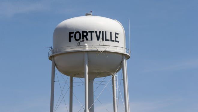 The Fortville waterpower overlooks Main St. and railroad tracks in downtown Fortville, April 18, 2017.