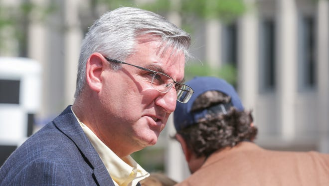 Indiana Governor Eric Holcomb was on hand for the opening celebration of the new Salesforce Tower on Monument Circle in Indianapolis, Saturday May 20, 2017.