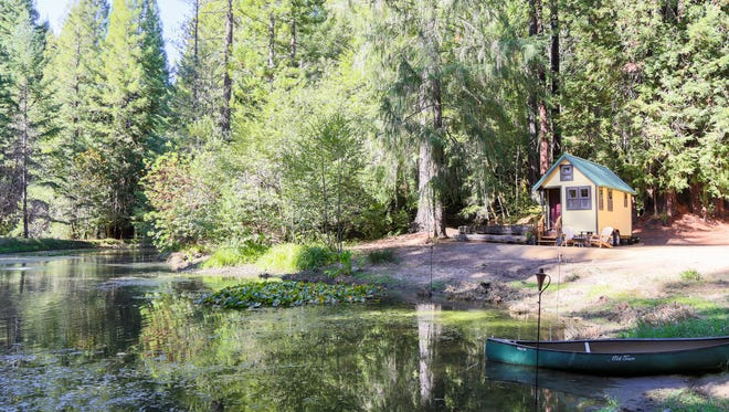 This tiny house by a pond in Healdsburg, Calif., is one of the Airbnb options in rural communities that is growing in popularity.    Listing number 1679221