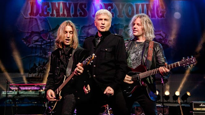 Former Styx vocalist Dennis DeYoung (center) will play Mequon's Gathering on the Green festival on Saturday, July 14 with a six-piece band including guitarist August Zadra (left) and Jimmy Leahey.