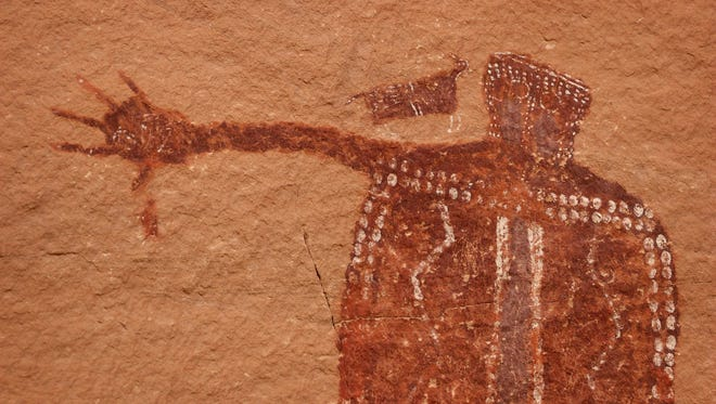 Ancient artwork is seen in a remote canyon within the Bears Ears National Monument in southern Utah in November of 2017.