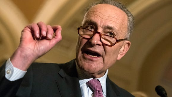 Senate Minority Leader Chuck Schumer, D-N.Y., meets