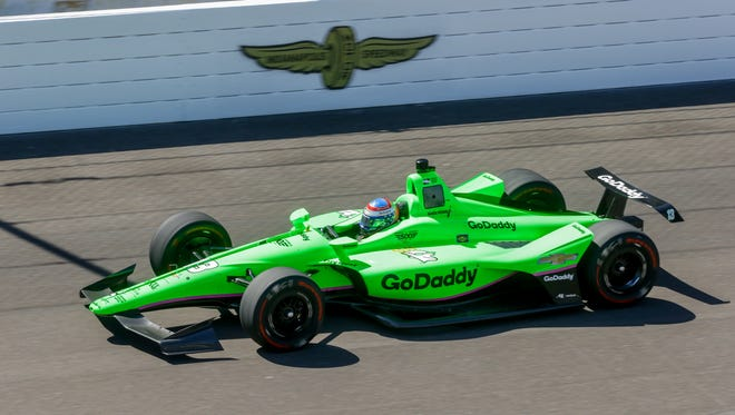 IndyCar driver Danica Patrick drives her laps during her veteran resfresher testing for the Indy 500 at theIndianapolis Motor Speedway on Tuesday, May 1, 2018.