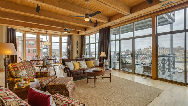 This condo at Hansen's Landing, 541 E. Erie St. in the Historic Third Ward, has views of the Milwaukee River and Hoan Bridge.