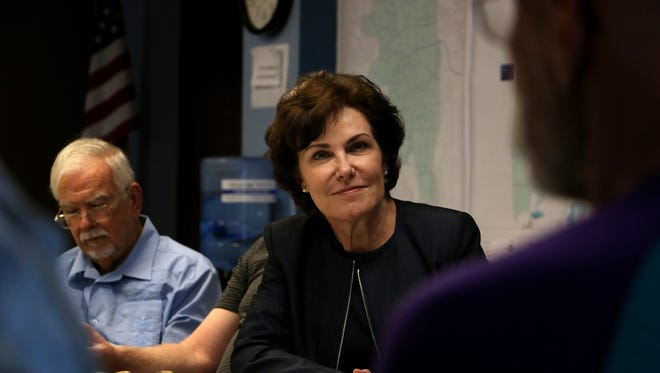 U.S. Representative Jacky Rosen meets with a group of Nevada voters at the Washoe County Democratic headquarters in Reno on Aug. 23, 2018. Rosen is the Democratic nominee for the U.S. Senate in the 2018 election.