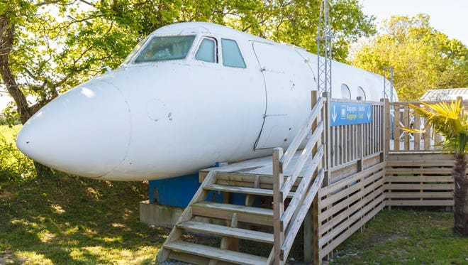 You can sleep in a plane in France. This plane is located in Le Haut Village in Saint-Michel-Chef-Chef in western France.