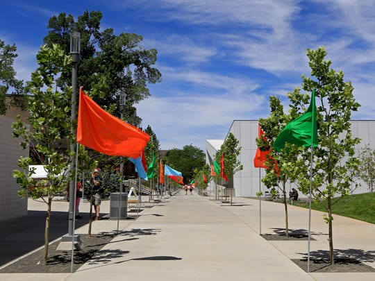 Colorful flags welcome visitors to Southern Utah University's