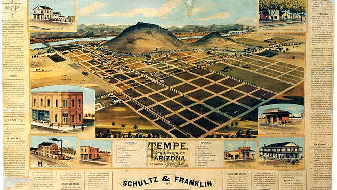 Tattered and torn, the C.J. Dyer bird's-eye view map of Tempe in the collection of the Tempe History Museum remains the only known copy of 5,000 printed in 1888.