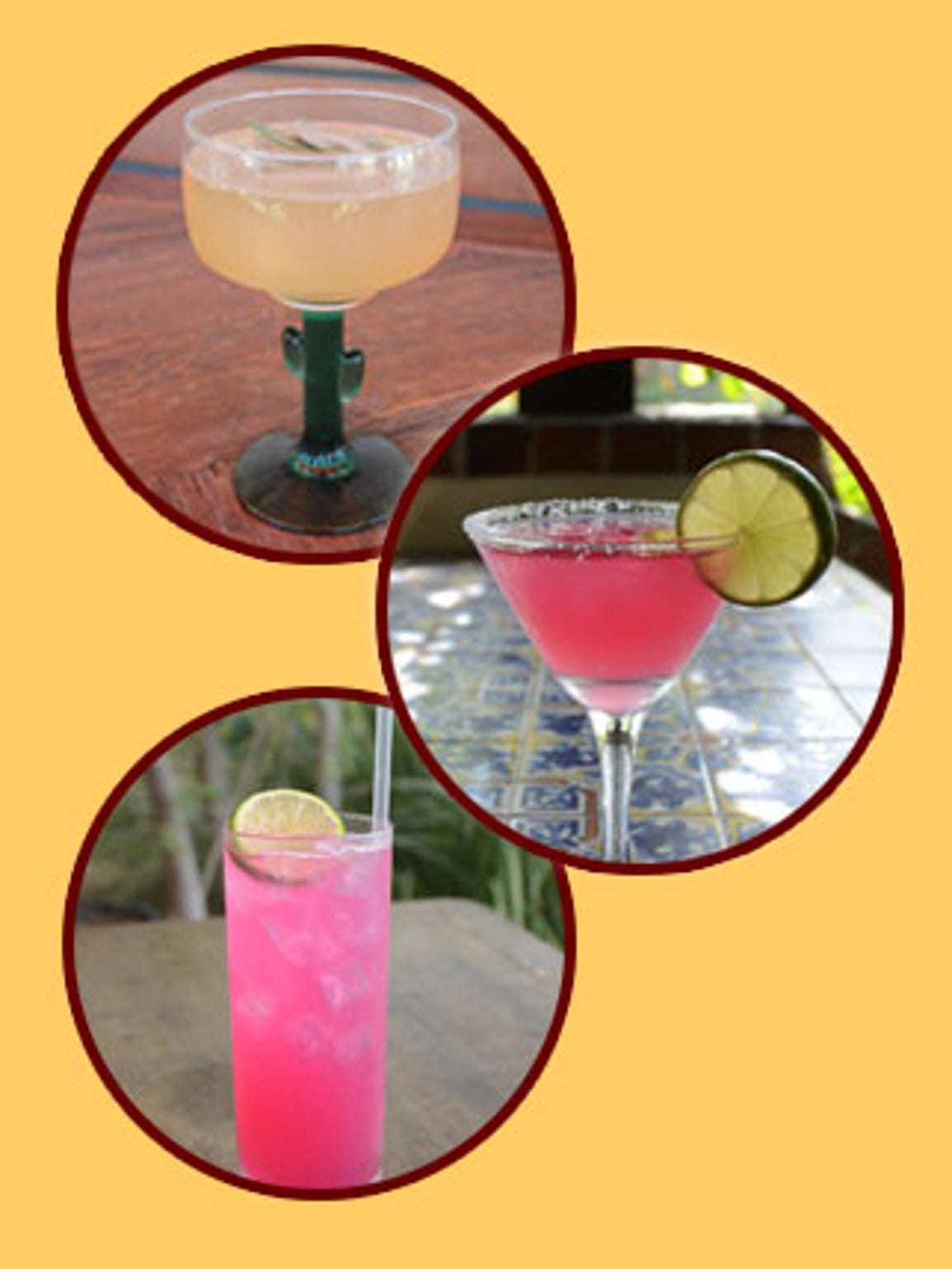 Top to bottom: Palm Canyon Cooler, Prickly Pear Margarita,