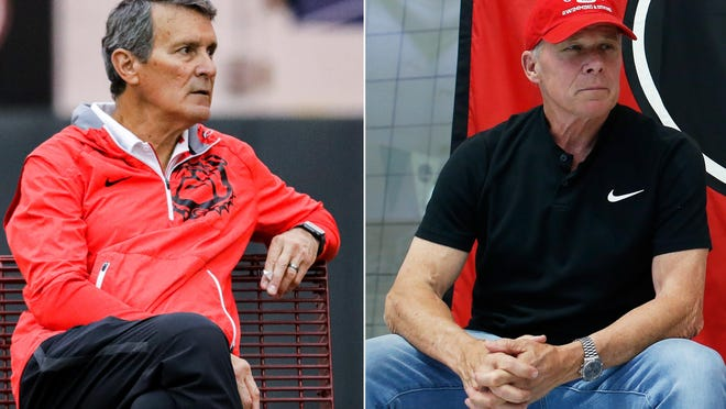 Georgia men' tennis coach Manuel Diaz and swimming and diving coach Jack Bauerle are preparing to coach in the 2020-2021 season. (Photos from UGA athletics and Athens Banner-Herald).