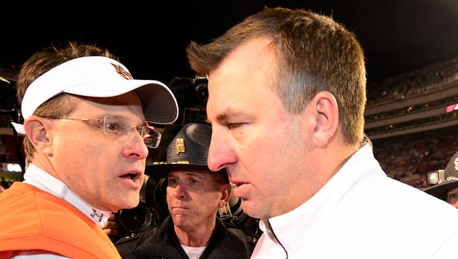 Auburn head coach Gus Malzahn and Arkansas head coach Bret Bielema will meet for the fourth time Saturday at Jordan-Hare Stadium.