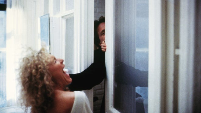 Glenn Close (as Alex Forrest) and Dan Gallagher (Michael Douglas) have a violent argument in 'Fatal Attraction,' now celebrating its 30th anniversary on digital HD at iTunes.