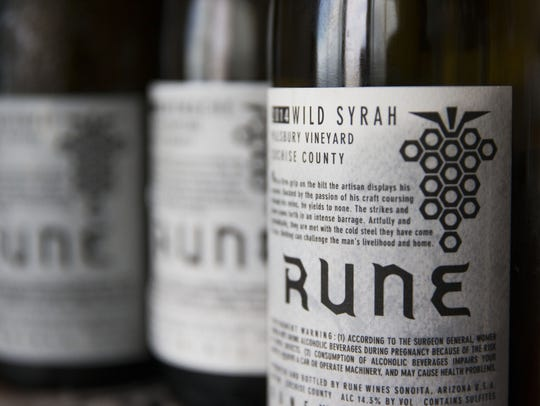 Wine label for wild syrah from Rune Winery in Sonoita,