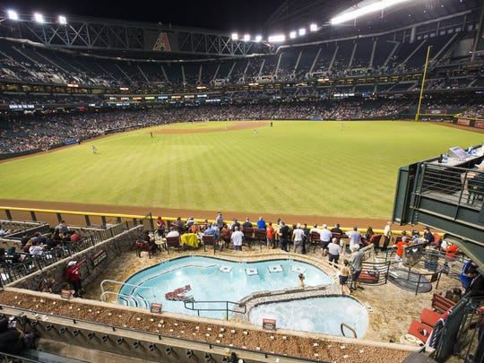 Guests enjoy the pool suite while attending a game