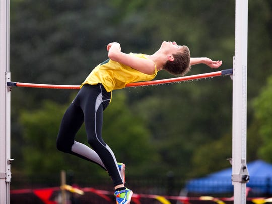Regis' Josh Mumey competes in the high jump at the Meet of Champions on Saturday, April 23, 2016, at McCulloch Stadium in Salem.