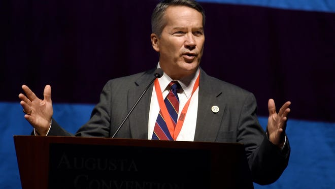 Georgia Congressman Jody Hice speaks during the opening day of the Georgia State GOP convention being held in Augusta, Ga., Friday afternoon June 2, 2017.