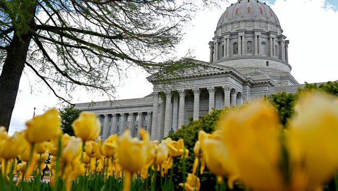 The Missouri State Capitol as seen from its grounds in Jefferson City, Mo. on April 19, 2016.