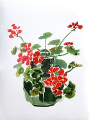 Geraniums In A Pot,  Oil on Oil Paper, 30 x 23 inches