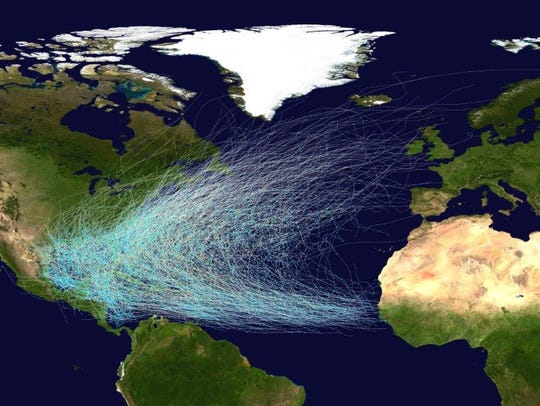 This map shows the tracks of all Atlantic Ocean hurricanes