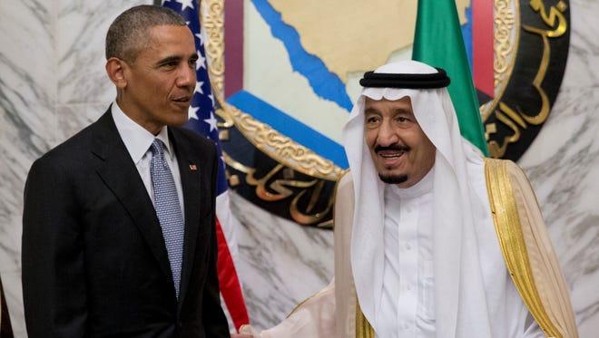 President Obama and Saudi King Salman in Riyadh on April 21, 2016.