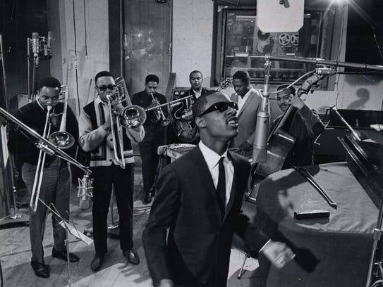 Stevie Wonder in the Hitsville studio in 1965.