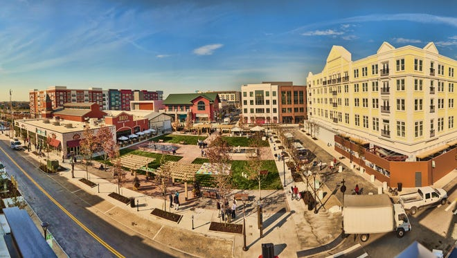 Panoramic view of Liberty Center development in Liberty Township.